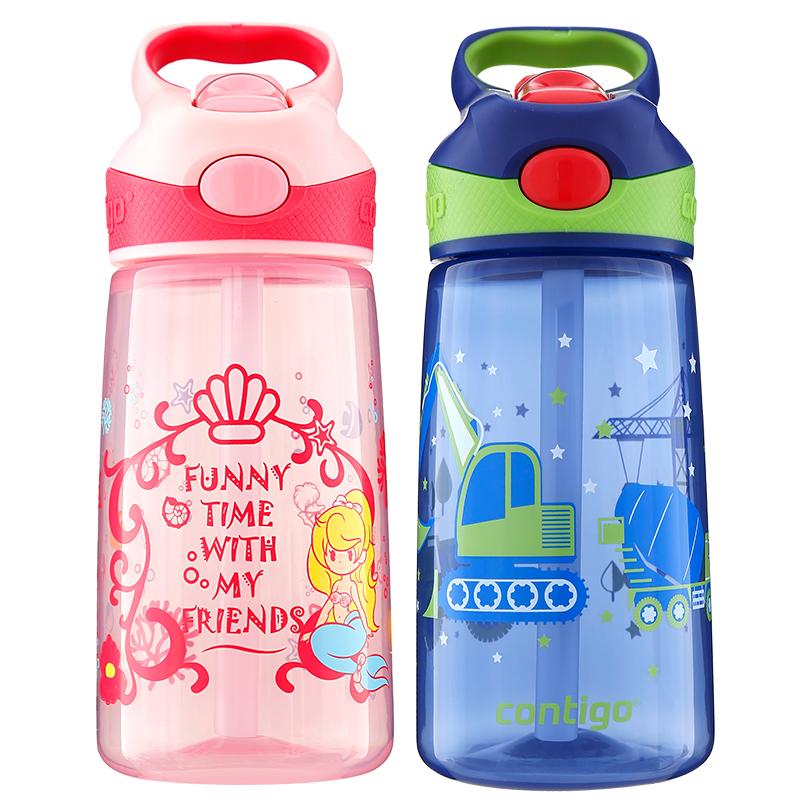 美国Contigo儿童吸管杯可爱幼儿园小学生水杯子宝宝防摔创意水壶