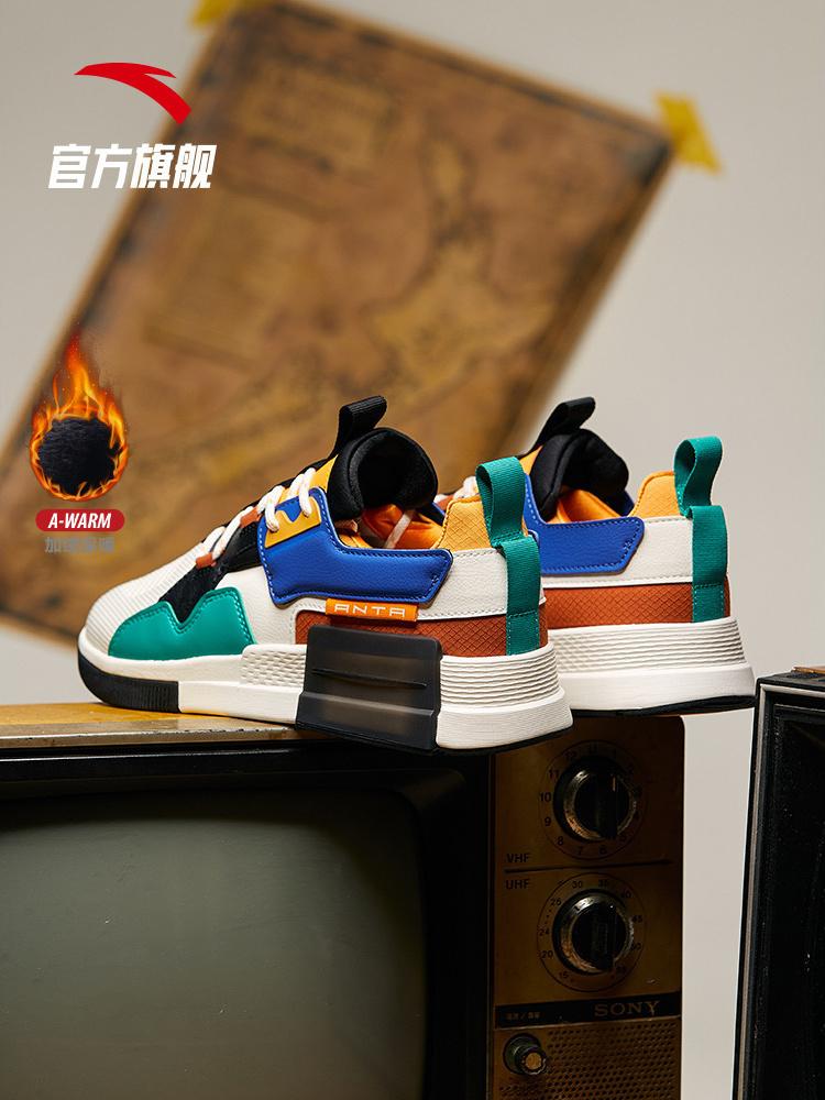 安踏魔方男鞋休闲鞋2019秋冬加绒棉鞋舒适鞋子潮流运动鞋11948888-1
