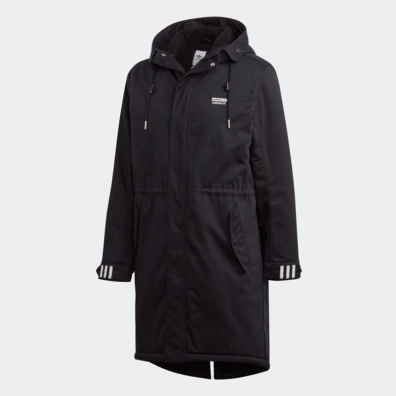 阿迪达斯大衣男三叶草棉服2019冬季保暖外套运动长款棉衣FL0021