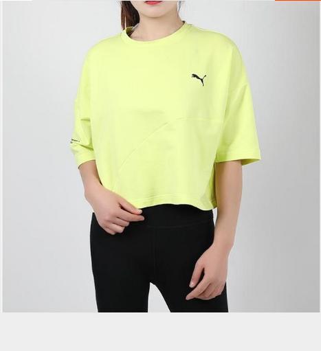 PUMA彪马女装运动休闲短装短袖透气T恤 59739731(黄色) 59739760(草灰色)