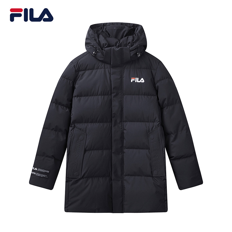 FILA 斐乐男白鸭绒羽绒服2020冬季中长款连帽保暖外套F11M048919F