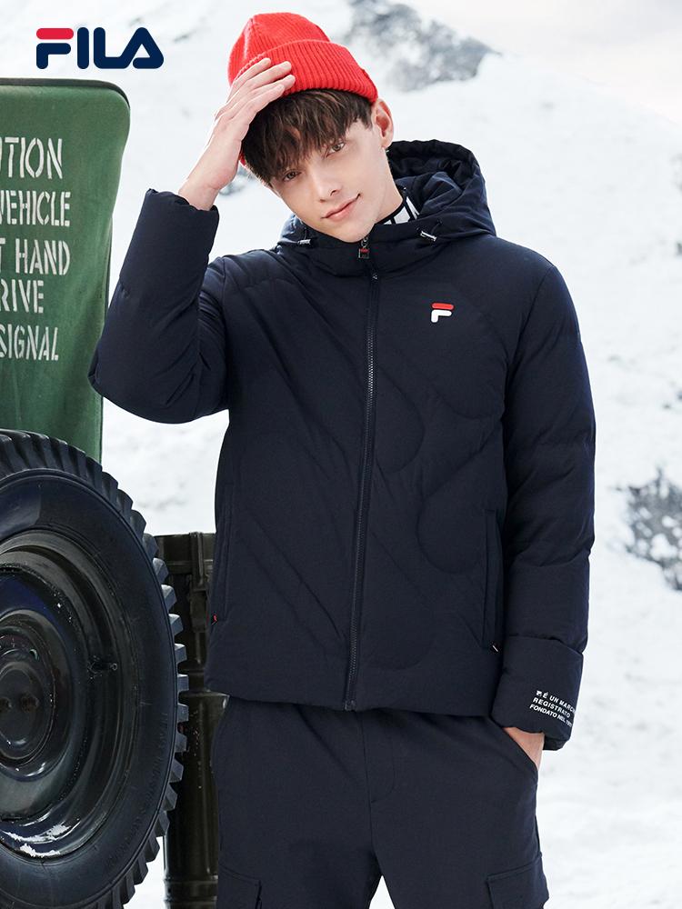 FILA 斐乐官方 男士羽绒服2020年冬季新款休闲保暖短款连帽外套男F11M048925F