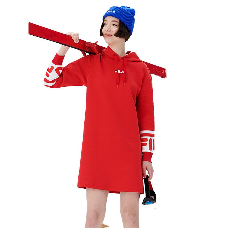 斐乐FILA专柜正品2020冬款新款女装长款休闲连帽上衣F11W048234F