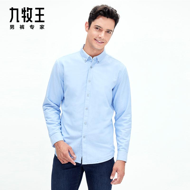九牧王Joeone 标准版休闲长袖衬衫(加绒) JC395451T