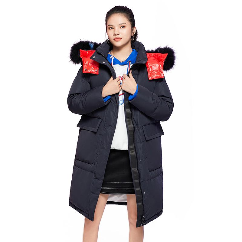 艾莱依秋冬新款韩版宽松羽绒服女中长款加厚白鸭绒外套601901251