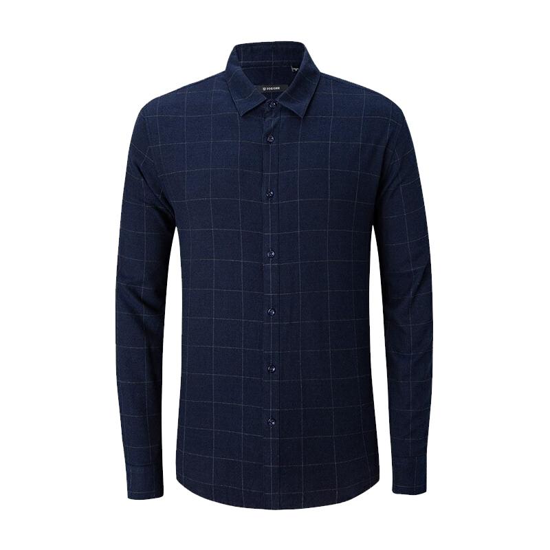 九牧王Joeone 标准版休闲长袖衬衫(加绒) JC395402T