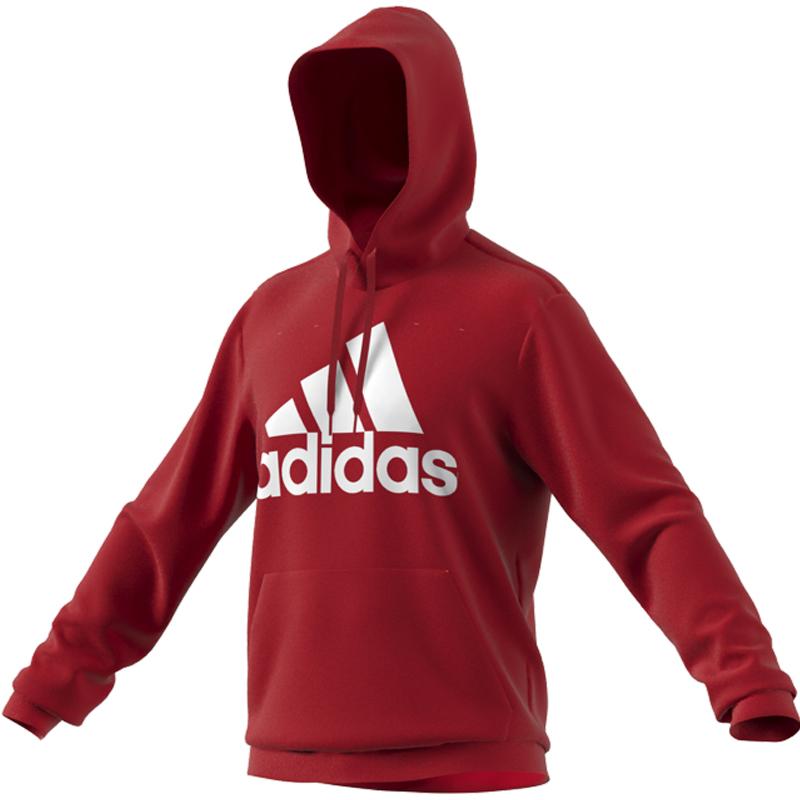 阿迪达斯卫衣男装2020冬新款运动服红色连帽套头衫长袖上衣GV0249